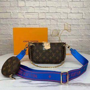 NWT LV Multi Pouchette Accessories Bag Blue tape